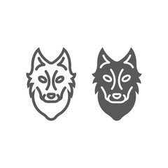 Wolf line and glyph icon, animal and zoo, dog sign vector graphics, a linear pattern on a white background, eps 10.