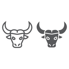 Buffalo line and glyph icon, animal and zoo, cattle sign vector graphics, a linear pattern on a white background, eps 10.