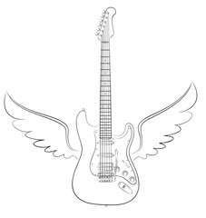 Guitar with wings.