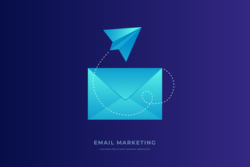 Mobile e-mail notification concept. Closed postal envelope and paper airplane on blue background. Email marketing. Flat vector illustration.