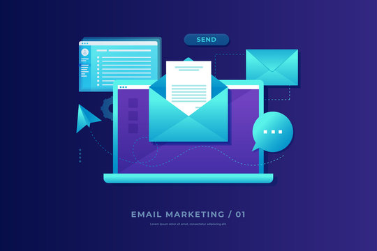 Email marketing concept. Laptop with envelope, open email and message on screen. Communication, information dissemination, sending email. Flat vector illustration.
