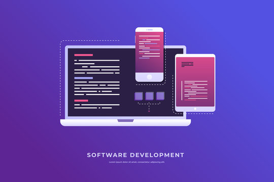 Concept of development and software. Monitor with program code on on screen of laptop, tablet and smartphone. Digital industry. Big data processing. Vector flat illustration.