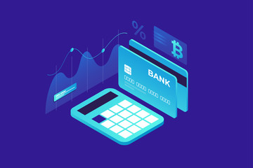 Growth and calculation of income. Payment by crypto currency. An isometric image of calculator, bank card and sign bitcoin on blue background. Vector illustration for web page, banner, presentation.