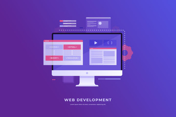 Web Development concept, programming and coding. Elements of the interface and browser windows on the monitor screen. Digital industry. Innovations and technologies. Vector illustration.
