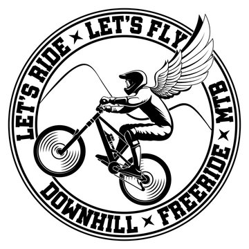 Mountain bike emblem. Rider with wings vector illustration.
