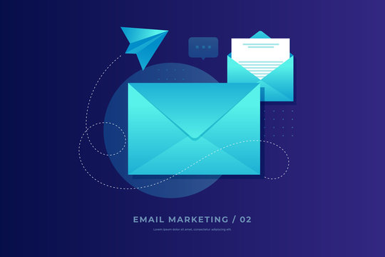 Mobile e-mail notification concept. Close and open post envelopes and paper airplane on blue background. Email marketing. Flat vector illustration.