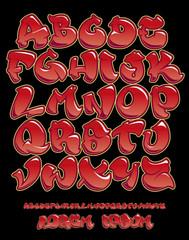 Graffiti alphabet- Hand written - Vector font