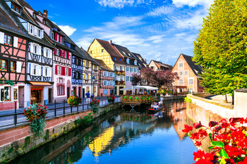 Most beautiful traditional villages of France - Colmar in Alsace with traditional colorful houses