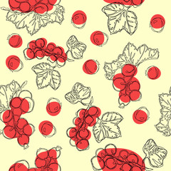 Red currant fruit seamless pattern. White background with red currant berries. Best for design of food packaging juice breakfast, cosmetics, tea, detox