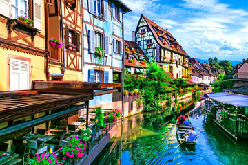 Fototapete - Most beautiful traditional villages of France - Colmar in Alsace.