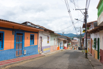 Jerico, Colombia, Antioquia, streets of the colonial city, located in the southwest of Antioquia, Colombia