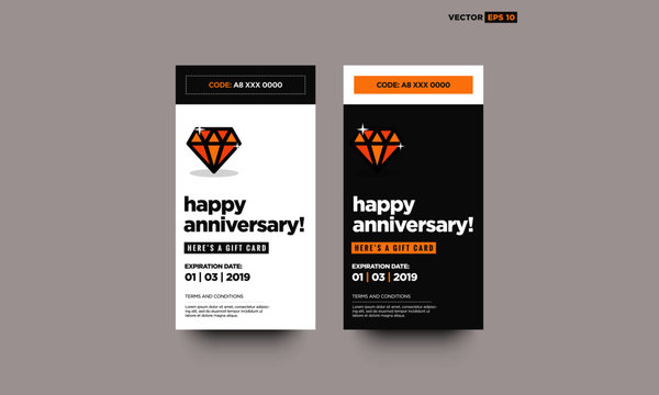 Happy Anniversary Gift Card with Diamond Vector Icon Illustration