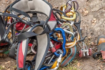 Rock climbing. Professional equipment for mountaineering. Rope, shoes.