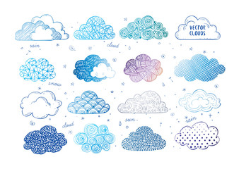 Set of blue doodle sketch clouds on white background
