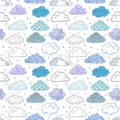 Seamless background with blue and violet doodle clouds. Can be used for wallpaper, pattern fills, textile, web page background, surface textures.