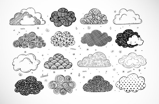Set of doodle sketch clouds on white background