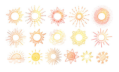 Colored Doodle sketches of sun on white background