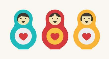 Matryoshka Doll with Heart. From Russia With Love Concept. Different Haircut Styles. Flat Color Icon.
