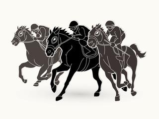Jockey riding horse, hose racing graphic vector.