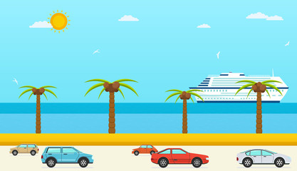 Sea view in summer, highway with cars. Sea with beach and palm trees, ship.