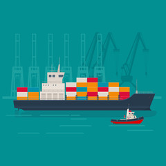 Large cargo ship and tugboat in the container terminal. Logistics and transportation concept. Vector illustration