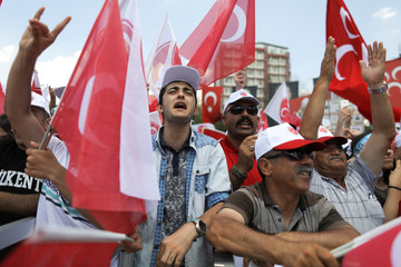 Supporters of Devlet Bahceli, leader of Nationalist Movement Party (MHP), attend an election rally in Ankara