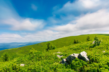 grassy hills of Runa mountain. beautiful green environment in summer. moving clouds, long exposure simulation