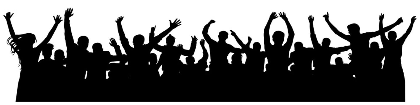 Crowd cheerful people silhouette. Joyful mob. Happy group of young people dancing at musical party, concert, disco. Sports fans, applause, cheering. Vector on white background. Celebrating dancing