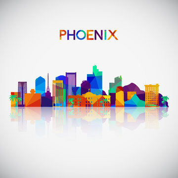 Phoenix skyline silhouette in colorful geometric style. Symbol for your design. Vector illustration.