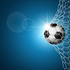 Soccer ball in goal. Blue