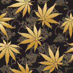 Cannabis or Marijuana leaves in gold. Hand drawn seamless pattern in vector format.