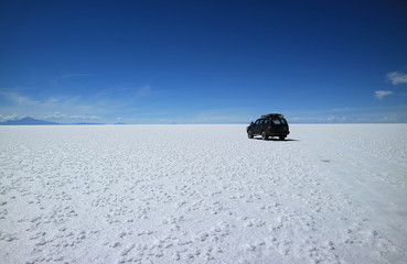 Adventure roadtrip at Salar de Uyuni or Uyuni Salts Flats in Bolivia, South America