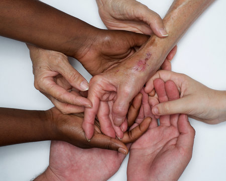 Diversity, Hands women from diverse backgrounds, woman's strength and unity interracial