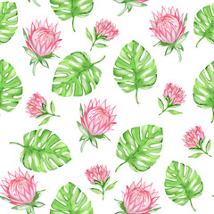Watercolor seamless pattern with red tropical flowers