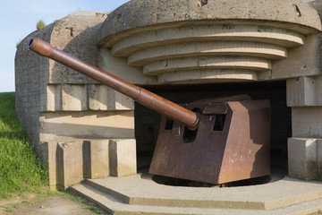 Remains of the destroyed german battery Longues sur mer