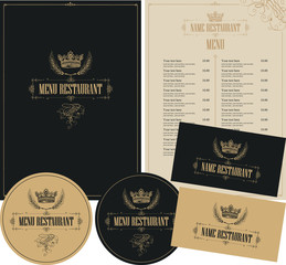 Vector set of design elements for a cafe or restaurant in baroque style with hand drawn crown in beige and black colors. Menu cover, price list, stands for drinks and business cards