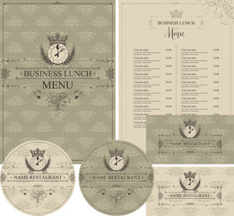 Vector set of design elements for restaurant with business lunch. Menu, business cards and coasters for drinks with crown, clock and cutlery in baroque style on background with floral pattern.