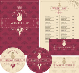 Vector set of design elements for liquor store in baroque style with jug of wine, grapes and crown. Menu cover, price list, stands for drinks and business cards on ornate backdrop with floral pattern