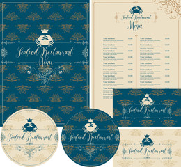 Vector set of design elements for seafood restaurant with crab and crown. Menu, business cards and coasters for drinks in baroque style on ornate background with floral pattern.