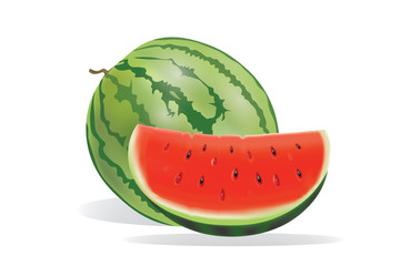 whole watermelon and watermelon piece on white background