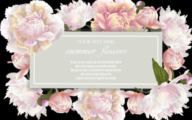 Vector vintage floral frame with peonies flowers on black background. Template for greeting cards, wedding decorations, sales.