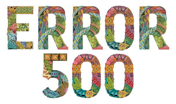 Word ERROR 500. Vector decorative zentangle object