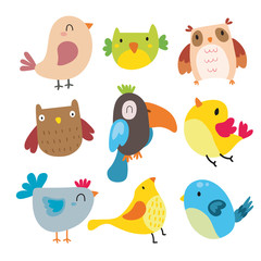 birds character vector design