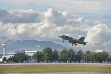 Gripen aircraft over the horizon.