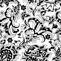 damask flowers seamless vector pattern. floral vintage background