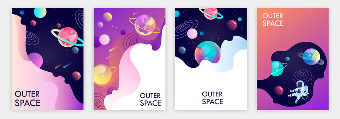 set of banner templates. universe. space trip. design. vector illustration