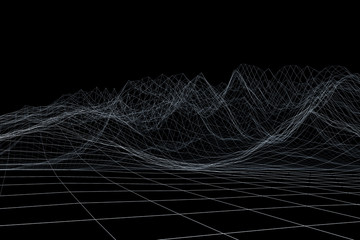 Wireframe polygonal landscape. Mountains with connected lines and dots