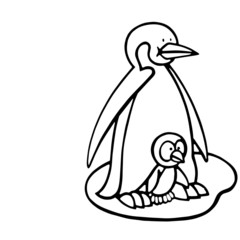 Penguin cartoon illustration isolated on white background for children color book