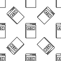 ABC book line icon seamless pattern on white background. Dictionary book sign. Alphabet book icon. Flat design. Vector Illustration