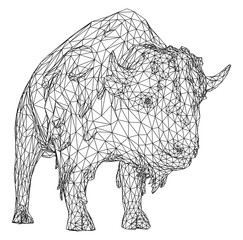 Bison polygonal lines illustration. Vector Buffalo American Bison on the white background